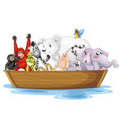 Many wild animals in small boat vector