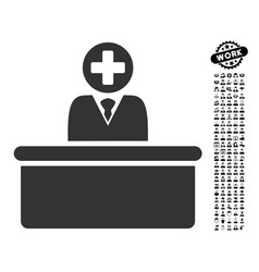 Medical bureaucrat icon with work bonus vector