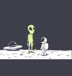 Meeting of an alien and an astronaut on moon vector