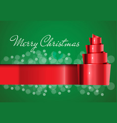 merry christmas card red ribbon on green design vector image