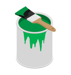 Metal paint can with green paint and paintbrush vector
