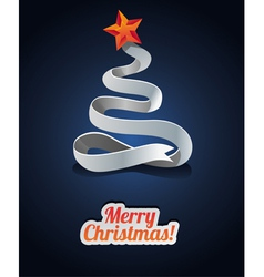 Modern christmas card with tree made from ribbon vector image