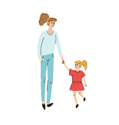 Mom walking with child vector