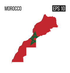 Morocco map border with flag eps10 vector