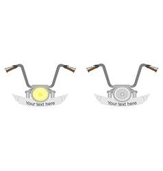 Motorcycle steering wheel 2 emblems vector