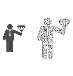 Network mesh groom diamond and flat icon vector