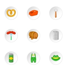 Oktoberfest icons set cartoon style vector