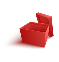Open empty red paper box in vector