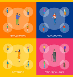 People characters banner set isometric view vector