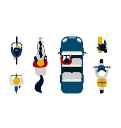 people on transport top view driving car vector image