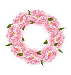 Pink peony flower wreath vector