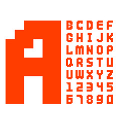 pixel retro font red computer game design 8 bit vector image