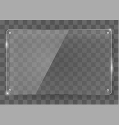 Realistic horizontal transparent glass frame with vector