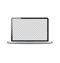 realistic laptop mockup with open screenblack vector image