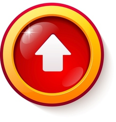 Red glass arrow button vector