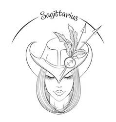 Sagittarius as a girl in hat vector