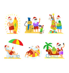 santa claus relaxing christmas on beach vector image