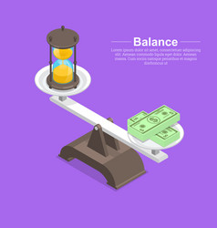 Scales with hourglasses and banknotes vector