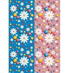 Seamless background with flowers and little balls vector