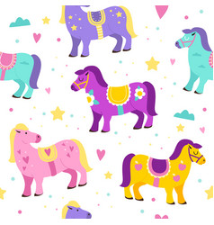 seamless pattern carousel horses colorful cute vector image
