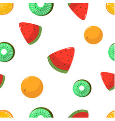 seamless pattern oranges kiwi and watermelon on vector image