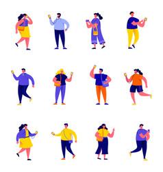 set flat people holding smartphones vector image