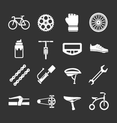 Set icons of bicycle biking and bike parts vector