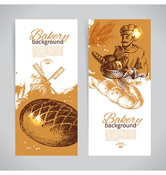 Set of bakery sketch banners vector