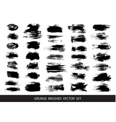 Set of black paint ink brush strokes vector