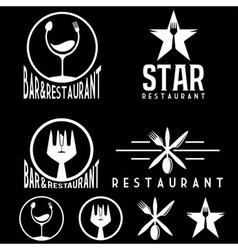 set vintage cafe and restaurant emblems vector image