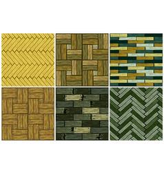 Set wood herringbone floor tiles pattern seamless vector