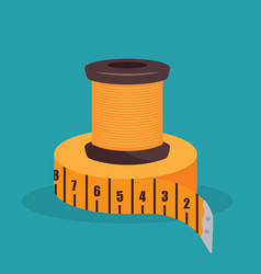 Sewing thread with tape measure isolated icon vector