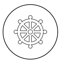 symbol budhism wheel law religious sign icon vector image