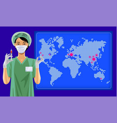 The nurse in white medical face mask vector