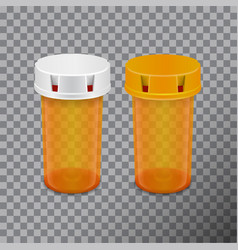 transparent pills bottle isolated on white vector image