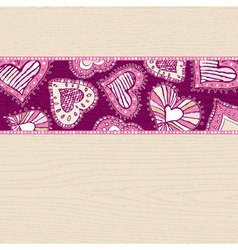 Valentines background with hand draw hearts vector