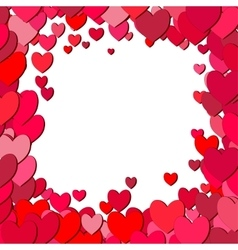 Valentines Day square frame with scattered hearts vector image