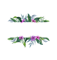 watercolor green banner tropical leaves and vector image