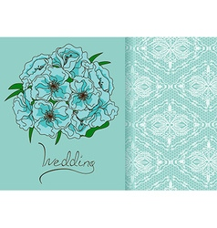 Wedding invitation or card with bridal bouquet vector image