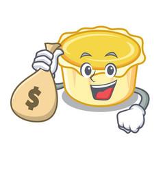 With money bag egg tart character cartoon vector