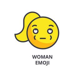 woman emoji line icon sign vector image