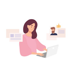 Woman sitting at laptop and using website vector
