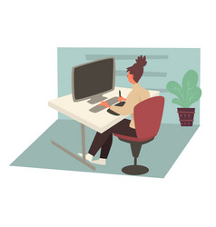 woman working on computer in office and sitting vector image