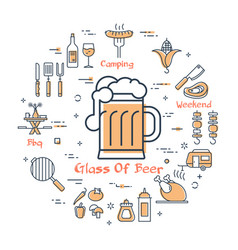 yellow round concept with glass of beer vector image