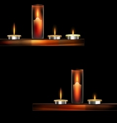 darkness and burning candles vector image vector image