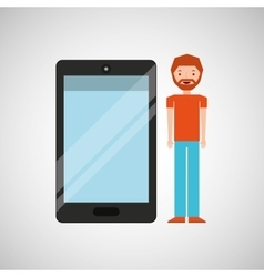 Character man bearded with smartphone shiny layer vector