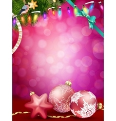Christmas baubles and ribbon EPS 10 vector image vector image