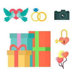 wedding invitation celebration set flat vector image