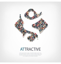 attractive people sign 3d vector image vector image