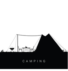 Camping nature with barbeque and beverage in vector